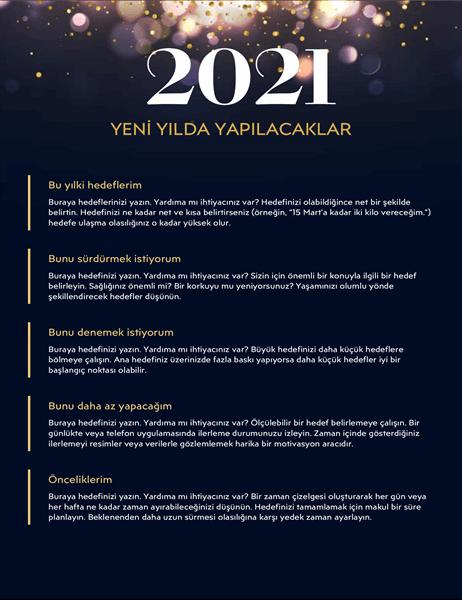 Yeni Yılda Yapılacaklar çalışma sayfası