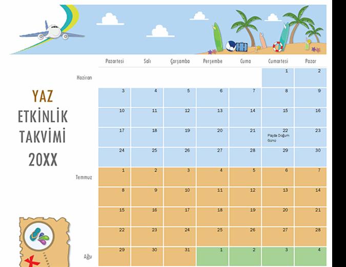 Yaz etkinlikleri takvimi