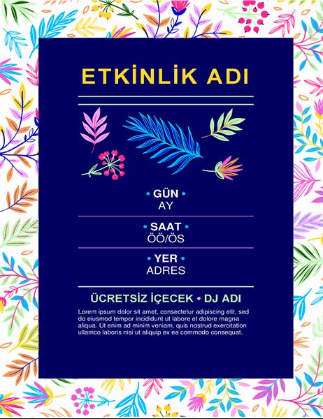 Parlak çiçekli etkinlik el ilanı