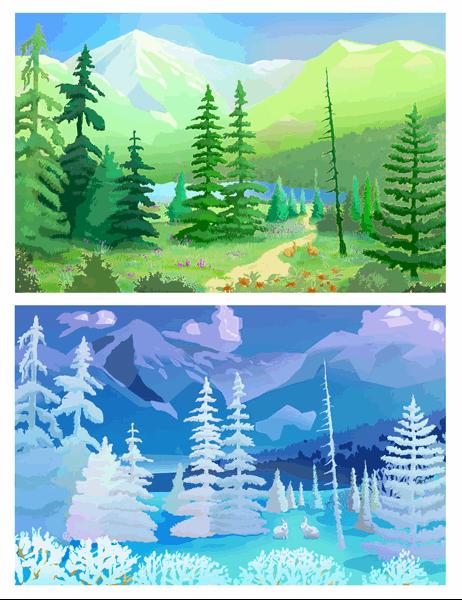 Doğa görüntüleri tebrik kartları (ikiye katlanır)