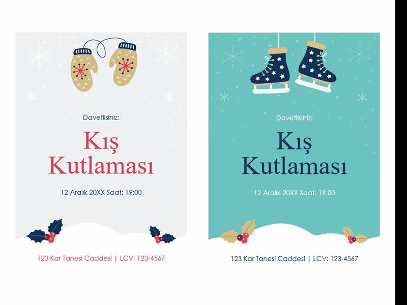 Kış tatili parti davetiyeleri