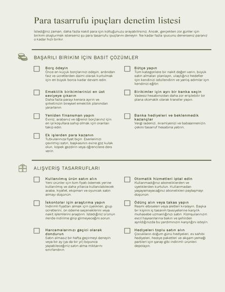 Para biriktirme ipuçları denetim listesi
