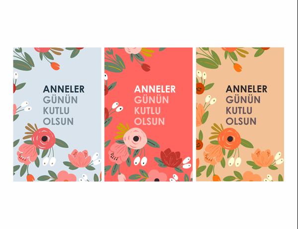 Zarif çiçekli Anneler Günü kartı