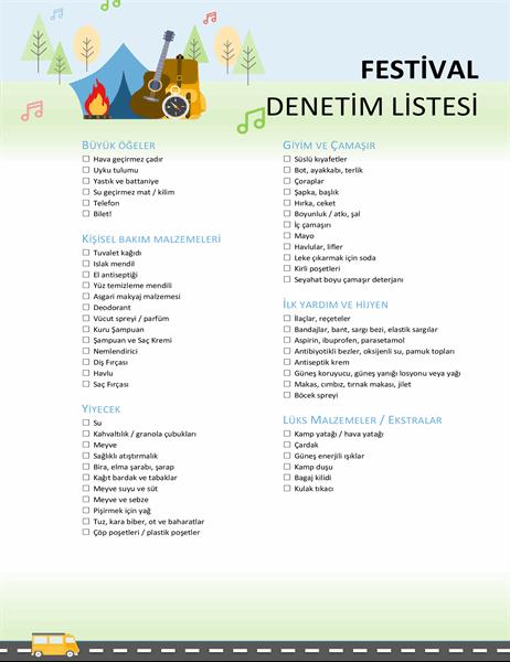 Festival denetim listesi