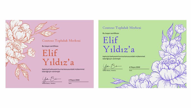 Çiçek gravür başarı sertifikası