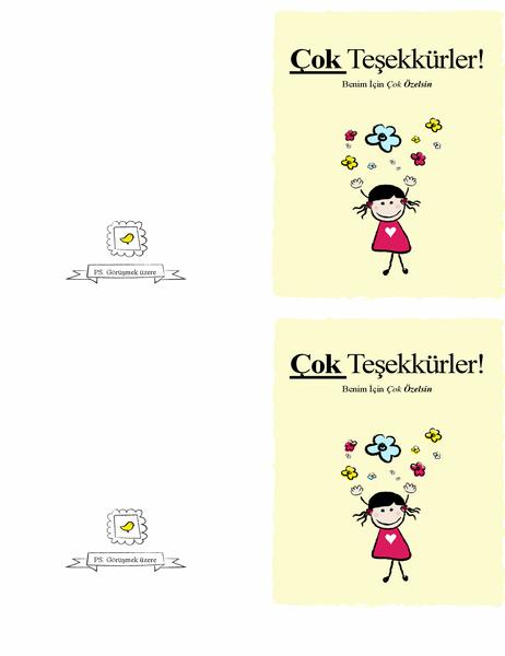 Küçük kız Teşekkür Kartı