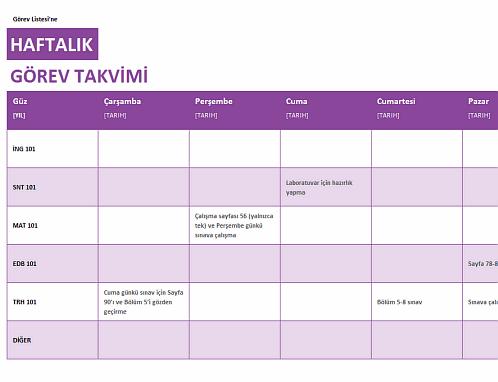 Haftalık görev listesi