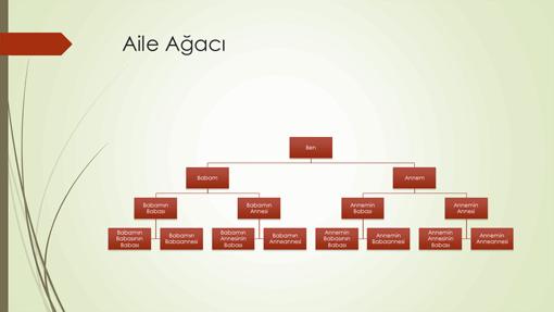 Aile ağacı grafiği (dikey, yeşil, kırmızı, geniş ekran)