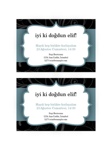 Parti davetiyeleri (Mavi Kurdele tasarımı, sayfada 2 tane)