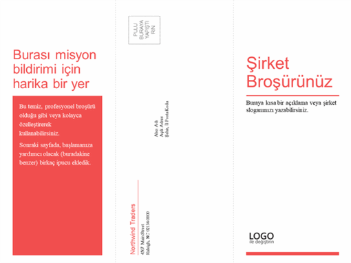 Üçe katlanan iş broşürü, tıbbi broşür (kırmızı, beyaz tasarım)