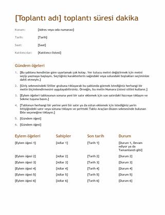 Toplantı notları (basit)