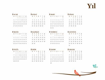Kuş temalı yıllık takvim (Pzt-Paz)
