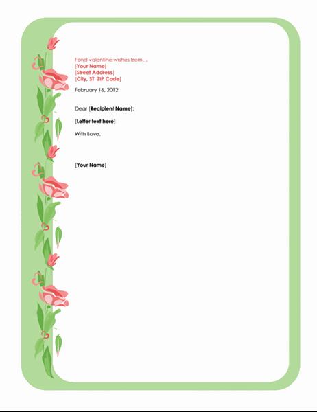 Шаблон листа до Валентинова дня