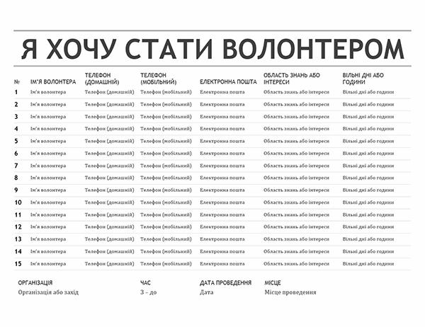 Список волонтерів