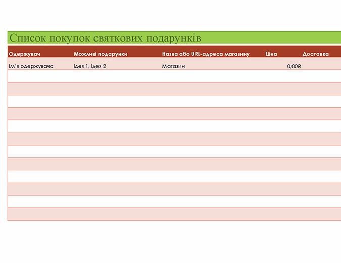 Список покупок святкових подарунків