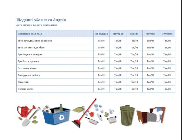 Контрольний список домашніх обов'язків дитини