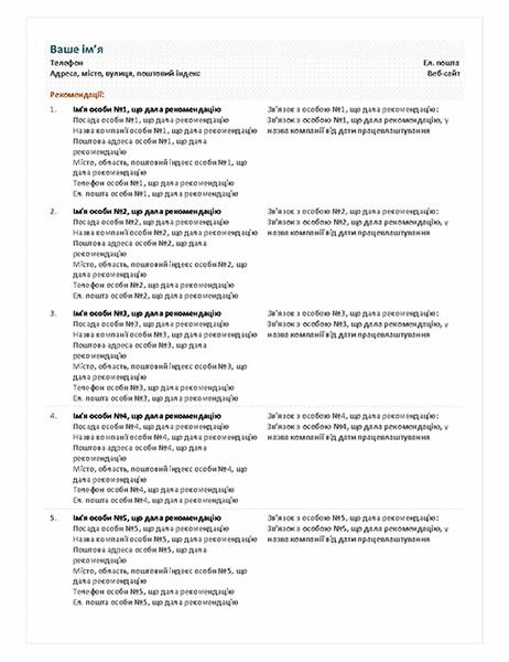 Аркуш рекомендацій до функціонального резюме