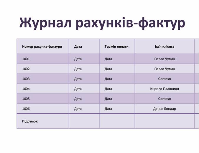 Журнал рахунків-фактур