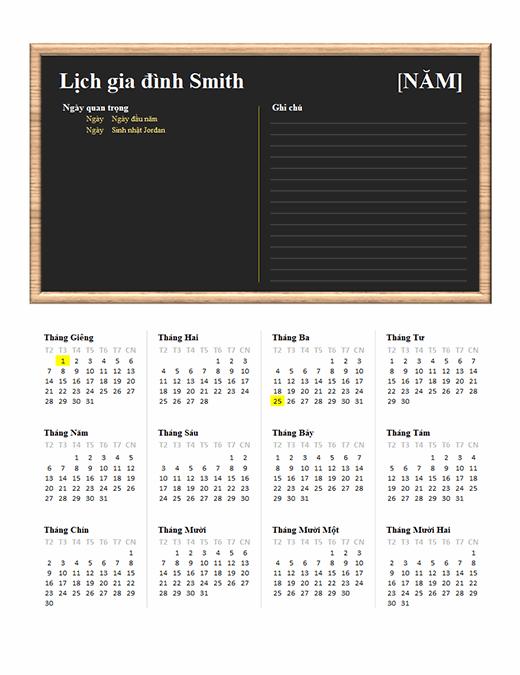 Lịch gia đình (năm bất kỳ, T2-CN)