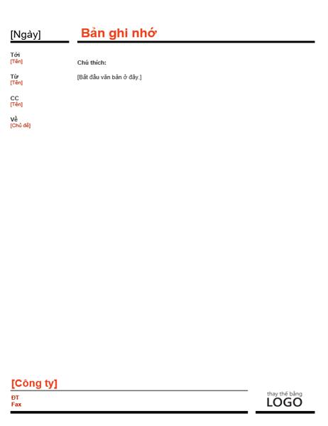 Bản ghi nhớ kinh doanh (màu đỏ)