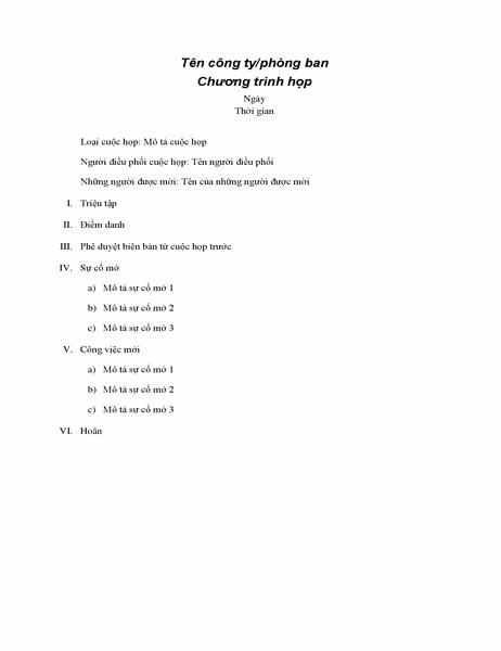 Chương trình cho cuộc họp chính thức
