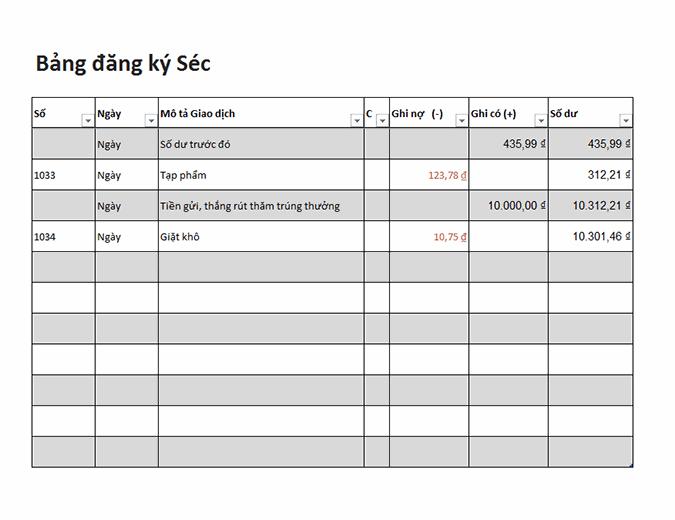 Bảng đăng ký séc (Đơn giản)