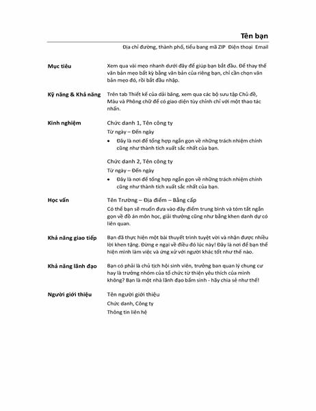 Sơ yếu lý lịch hữu dụng (Thiết kế nhỏ gọn)