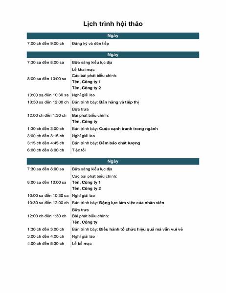 Lịch trình sự kiện hội thảo