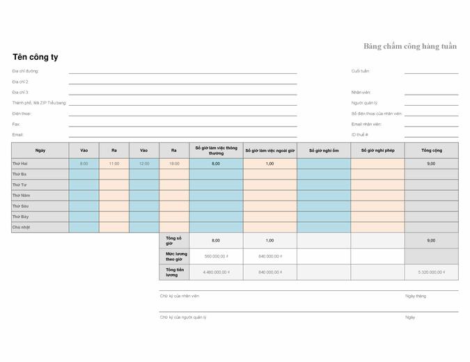 Bảng chấm công hàng tuần (8 1/2 x 11, ngang)
