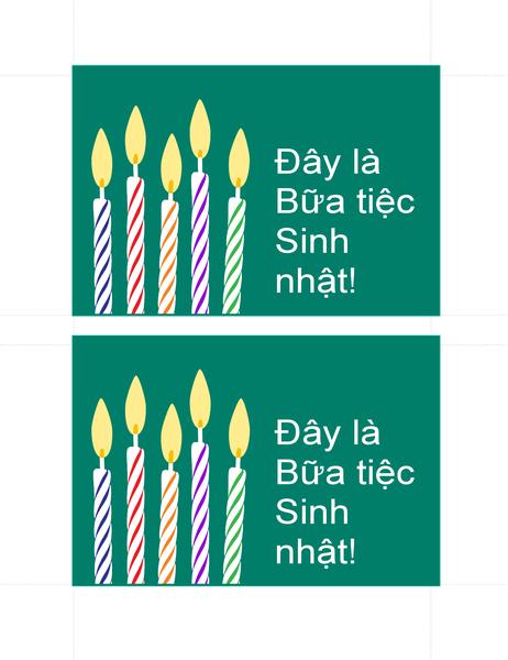 Bưu thiếp mời sinh nhật (2 lời mời trên mỗi trang)