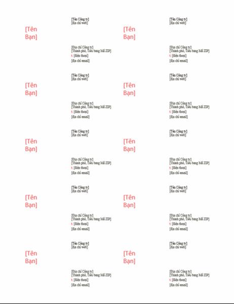 Danh thiếp (Thiết kế màu đỏ, 10 danh thiếp một trang)
