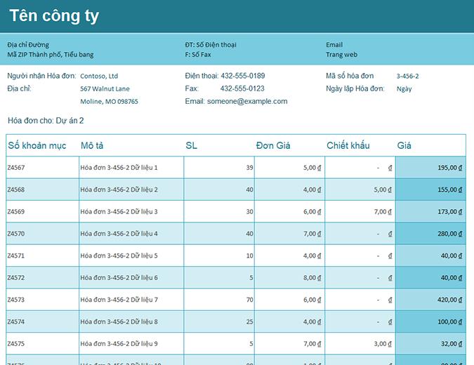 Bảng theo dõi hóa đơn bán hàng