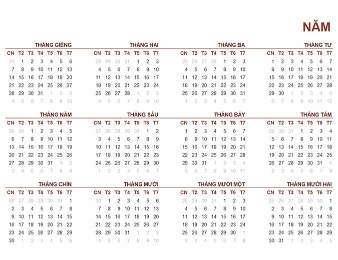 Lịch toàn cầu cả năm
