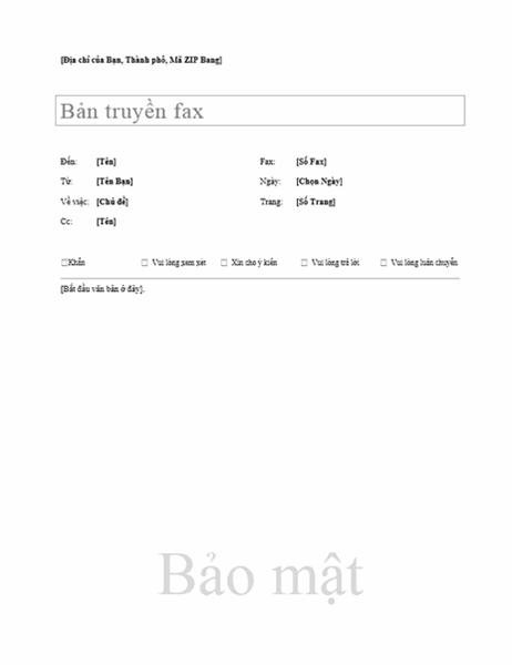 Tờ thông tin fax cơ bản