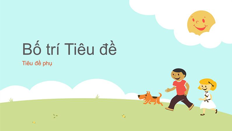 Thiết kế bản trình bày về giáo dục có hình ảnh trẻ em đang vui chơi (minh họa bằng hoạt hình, màn hình rộng)