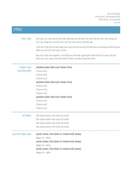 Hồ sơ cá nhân theo chức năng (Thiết kế đơn giản)