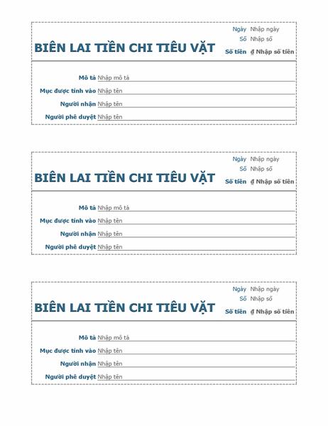 Biên lai tiền chi tiêu vặt (3 biên lai mỗi trang)