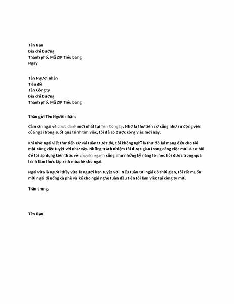 Thư cảm ơn sếp cũ vì lá thư giới thiệu tuyệt vời