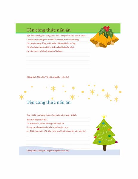 Thiếp công thức nấu ăn (Thiết kế mang không khí Giáng sinh, 2 thiếp mỗi trang, phù hợp với Avery 5889)