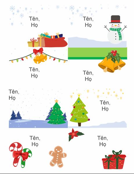 Phù hiệu tên ngày lễ (8 phù hiệu mỗi trang, thiết kế mang không khí Giáng sinh, phù hợp với Avery 5395 và các loại tương tự)