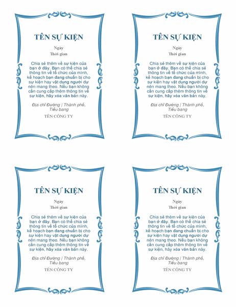 Thư mời dự sự kiện (4 thư trên mỗi trang)