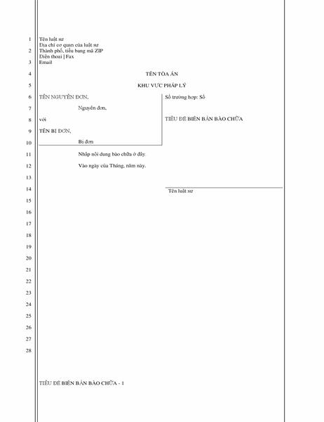 Giấy biện hộ pháp lý (28 dòng)