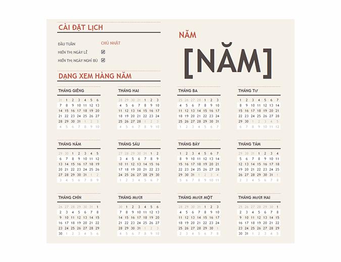 Lịch năm bất kỳ chứa các ngày lễ