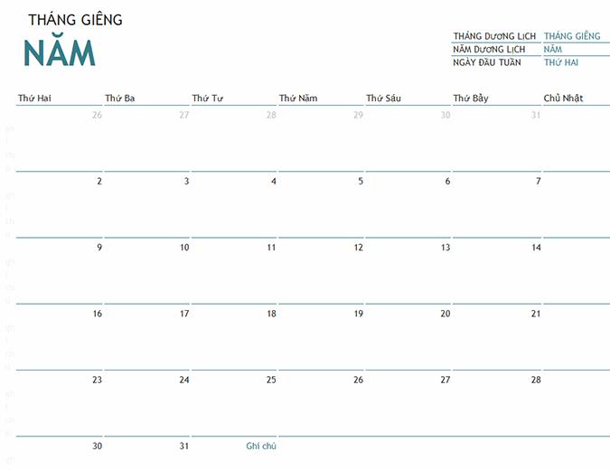 Lịch một tháng có ghi chú của bất kỳ năm nào
