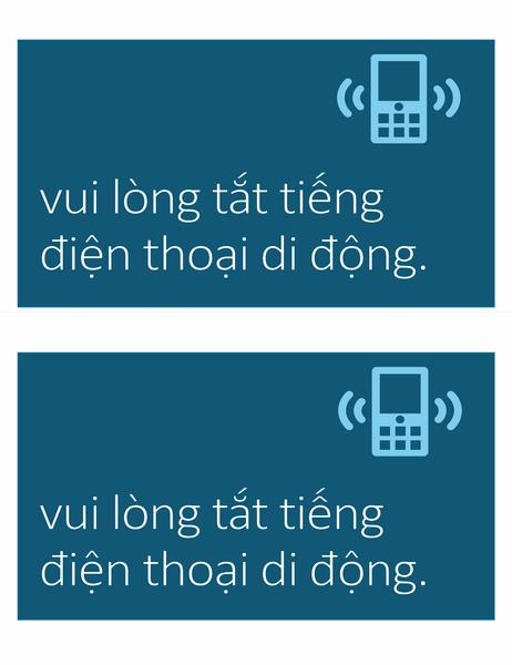 Biển báo không dùng điện thoại di động (2 biển báo mỗi trang)