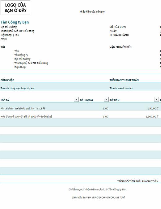 Hóa đơn có phí tài chính (màu lam)