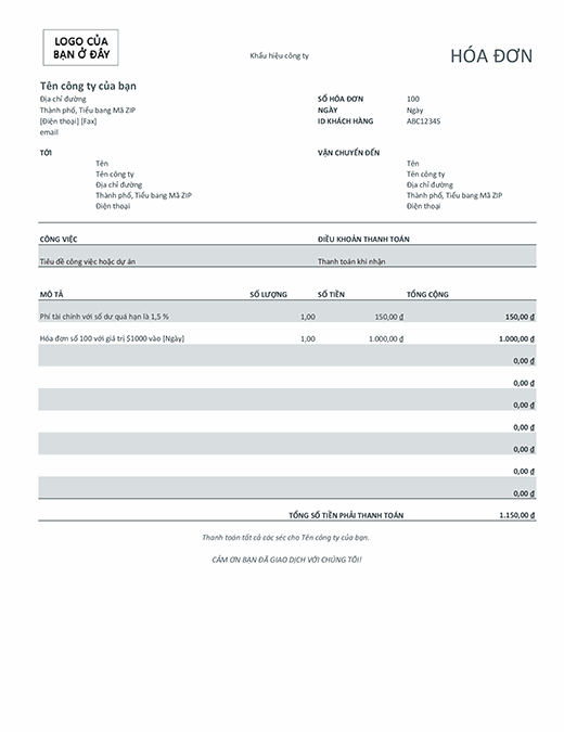 Hóa đơn với phí tài chính (màu xám)