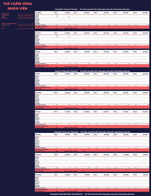 Bảng chấm công nhân viên (hàng tuần, hàng tháng, hàng năm)