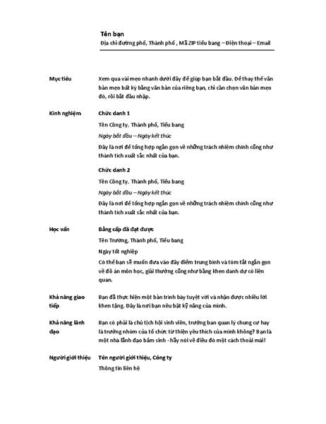 Sơ yếu lý lịch theo thứ tự thời gian (Thiết kế tối giản)