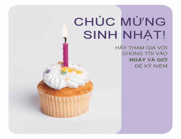 Tờ bướm mời sinh nhật (với bánh cupcake)
